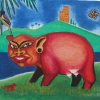"""Breeding Hog""  Acrylic on Canvas"