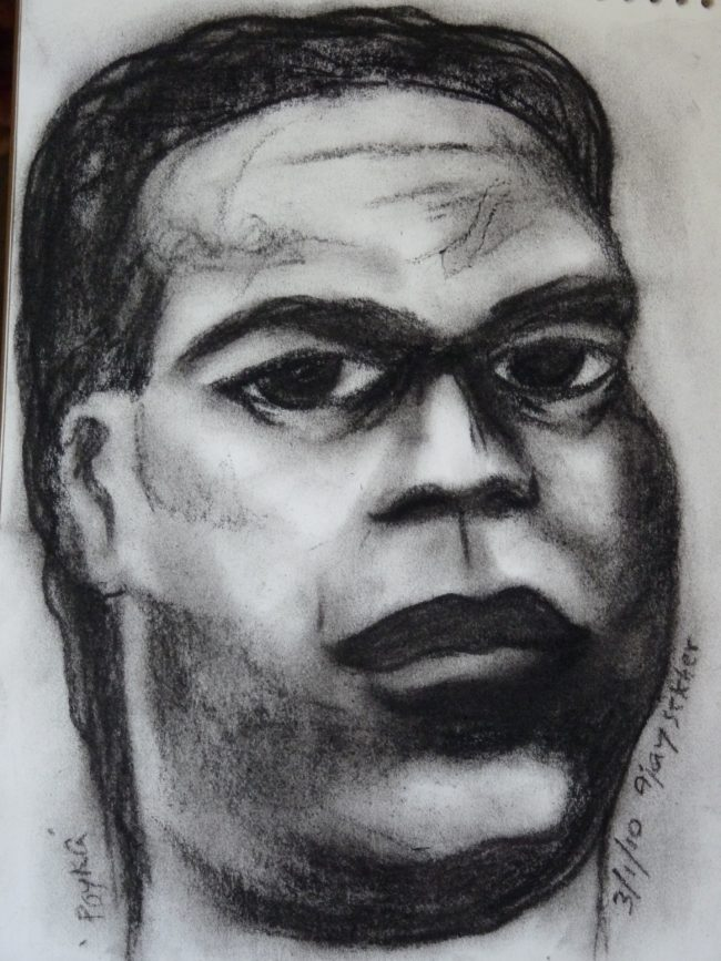 Portrait of Poykayil Appachan, Charcoal on Paper 2010, Ajay Sekher