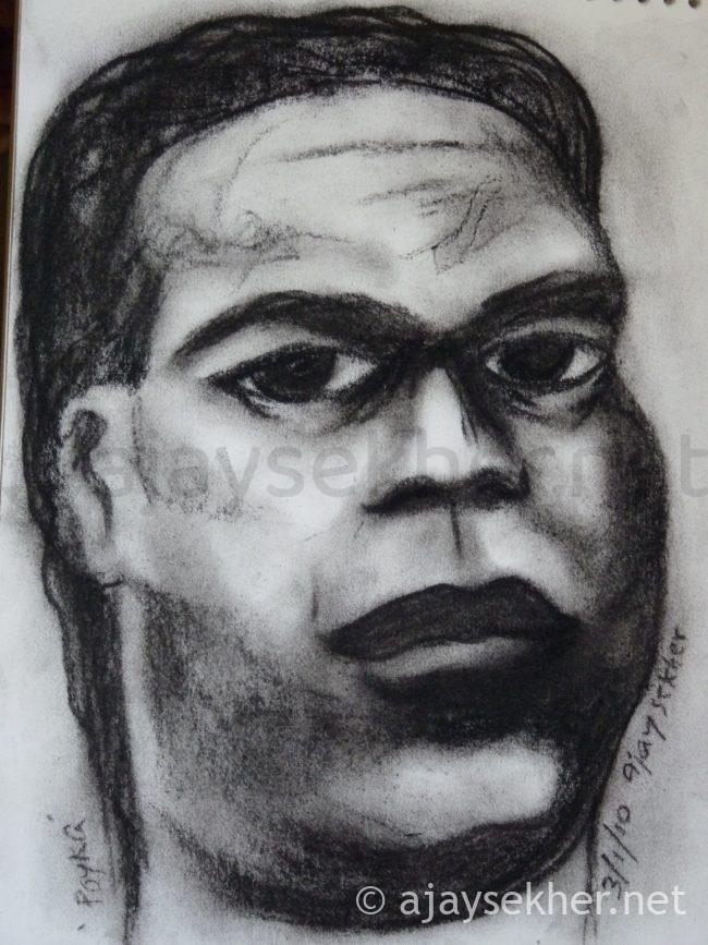 Portrait of Poykayil Appachan, Charcoal on Paper 2010, Ajay Sekher
