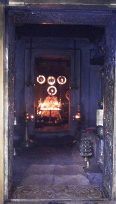 The present deity called Bhagavati in the central shrine originally built by Pallybanar for Mahamaya