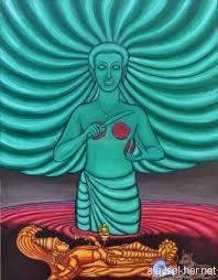 Nangeli's Sacrifice. Acrylic on Canvas by T Murali
