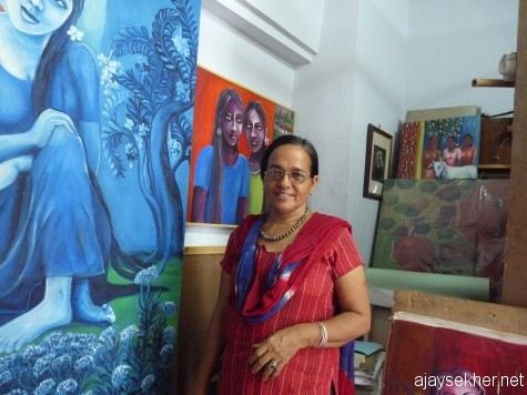 On the margins of the Biennale: Artist Victoria in her Namaste Studio on Bazar Road
