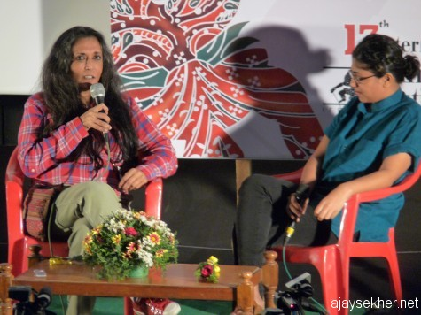 Dipa Mehta in conversation at Sree.  Her Midnight's Children was a crowd puller in IFFK 2012
