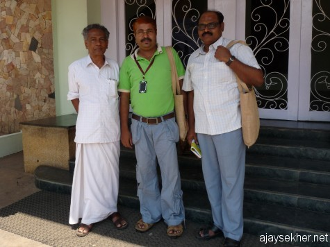 With film buffs, Prof Isthahac and Dr P S Radhakrishnan before New Theatre.  Photo: Seena Panoly