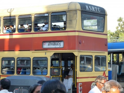 A double decker KSRTC bus at Kizhake Kotta, Tvm. A favorite with children and the young in mind.