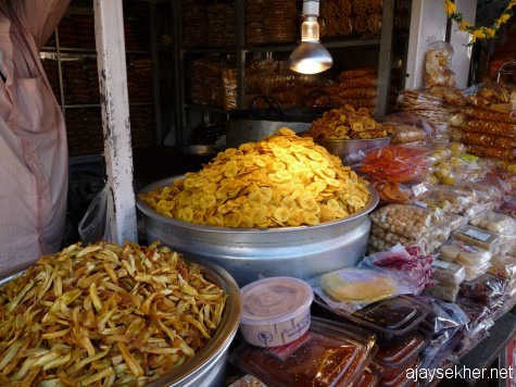 Banana chips and fries in East Fort market, Tvm.