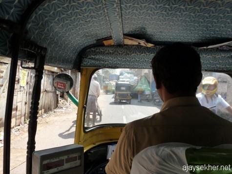 Riding on an auto through Bazar Road