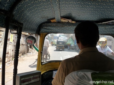 Riding on an auto through Bazar Road