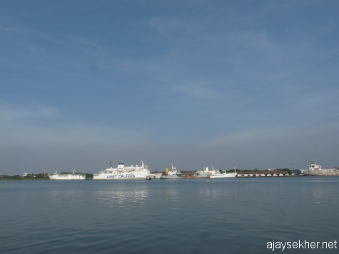 White luxury cruising liners from Europe berthed at Kochi