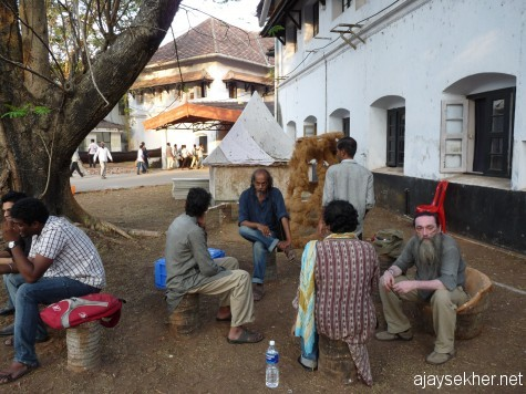 Artists in conversation at Aspinwall House, Fort Cochin.