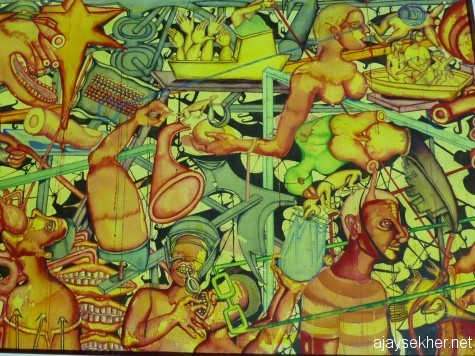 Art that responds to genocides and fascism: Detail from Zakir Husain