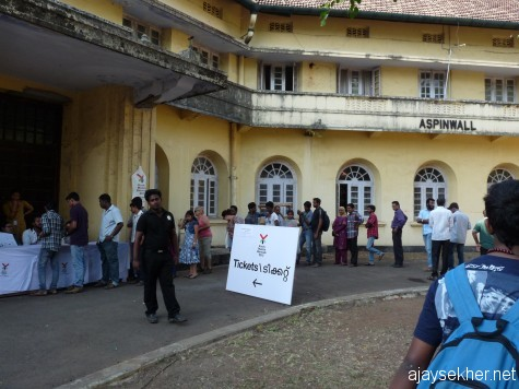 People from Kerala and abroad queuing up to buy tickets worth Rs 50 for the Biennale at Aspinwall.