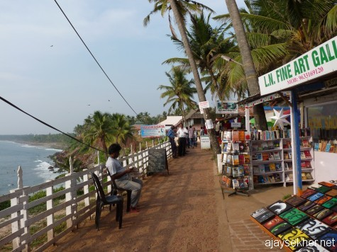 Bounty of nature and culture; popular book shops and art galleries on the Varkala cliff awaiting travelers from across the globe.