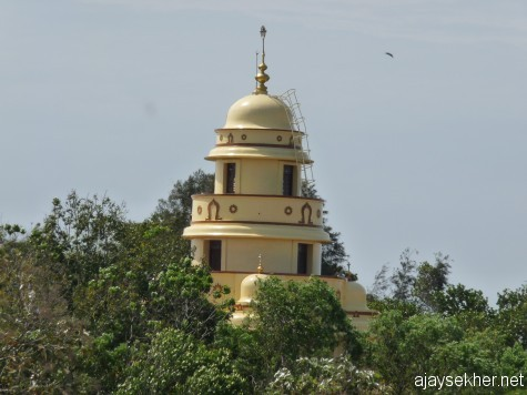Narayana Guru memorial on Sivagiri, Varkala.  A view from Narayana Gurukulam on an adjacent northern hillock, the retreat of Nitya Yati who wanted to see his super teacher always from a distance.