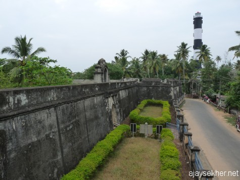 Anjengo Fort and light house south of Varkala:  A historic battle field between the colonial powers like the Dutch, French and the British.