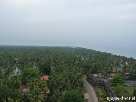 Thazhampally region south of Kayikara.  Vamanapuram river and Anjengo Kayal meet the Arabian sea here.  A bird's eye view from the top of Anjengo light house. 26 Dec 2012