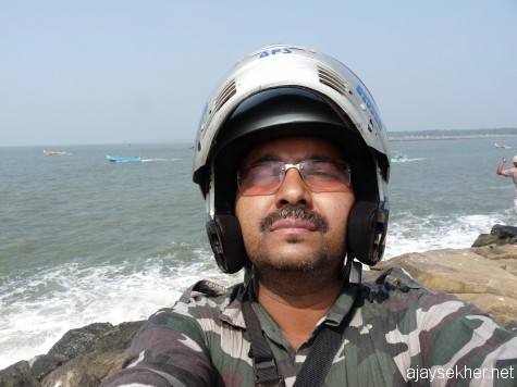 Self portrait from the end of the wave breaker at Chaliyam, one mile off shore. 6 Jan 2012