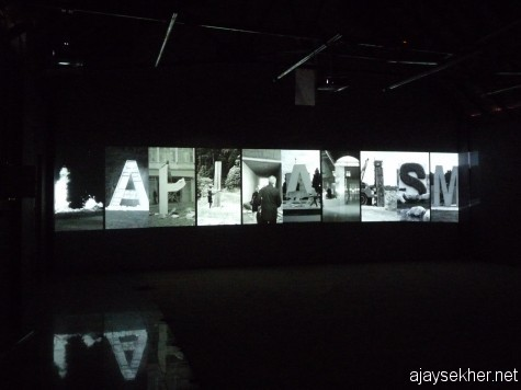 From a multiple video installation: The deconstruction of capitalism, seems to be too plain and macro political.