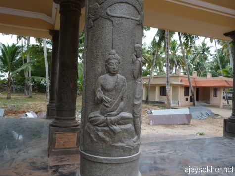 The buddha from Chandala Bhikshuki a pillar relief by Chavara Vijayan at Kayikara.