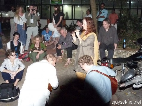 Artistes playing music to the people outside the official venues in the margins of ITFoK 2013.