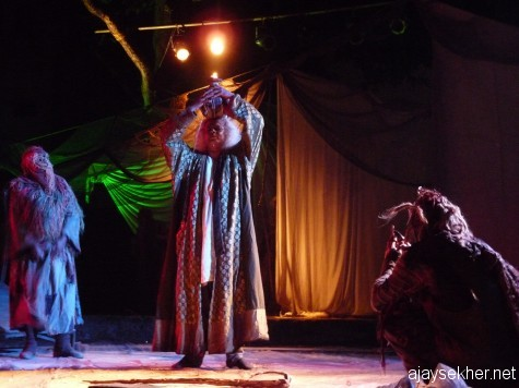 Indian Tempest a co-production by Footsbarn Traveling Theatre, Europe and Abhinaya Trivandrum.  Reghuthaman as Prospero.