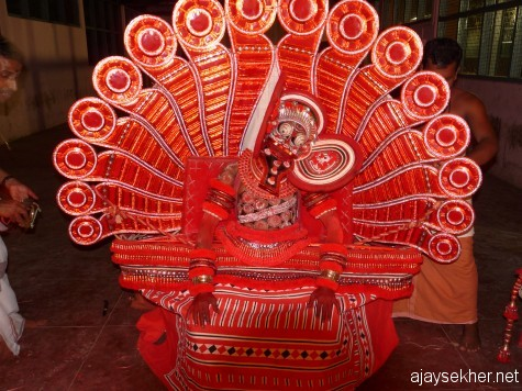 A Kutty Chathan (little Sastha or boddhisatva) Theyyam being performed in National Theatre Fest 2011 at Calicut.