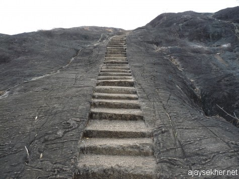 The flight of steps leading to the top of rock from southern side.  Looks like the steps at Karkala or Sravanabelgola but a lot recent with Malayalam scripts on it.  Bhranthan Kallu 15 feb 2013