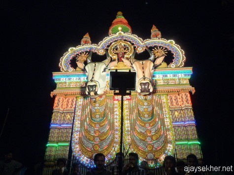 Kala Vela or Kettu Kazhcha at Ara Kavu south west of Tiruvegapura.  Researchers in Kerala history argue that Kettu Kazhcha and Vela or Pooram are reminiscent of Buddhist festivals.  Ara in Ara Kavu is a relic of Pally Ara the Vihara shrine.  15 Feb 2013