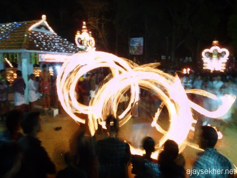 Fire dances in Are Kavu another ancient shrine of Amana antiquity near Tiruvegapura.