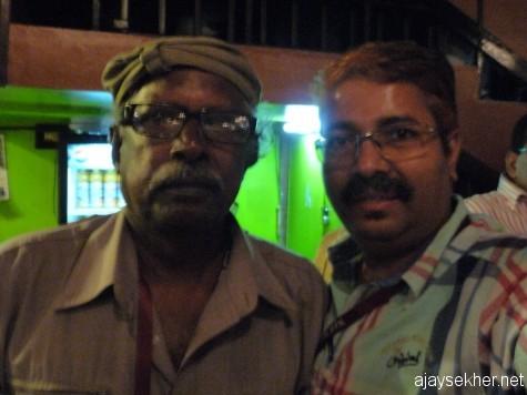 D Vinayachandran recently at IFFK 2012.  We watched Kim Ki Duk's Arirang and K M Kamal's ID together, he just loved both the films.