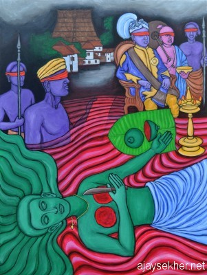 Like Kannaki's act the breast sacrifice of Nangeli becoming a curse on the Travancore state, its kings and the priestocracy:  Sacrifice of Nangeli - II by Chitrakaran