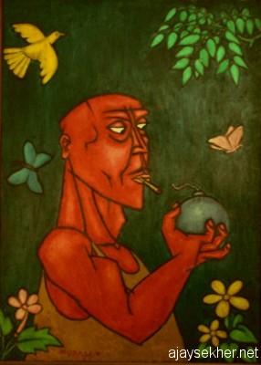 Explosive and subversive potentials of art:  Man with Bomb by Chitrakaran