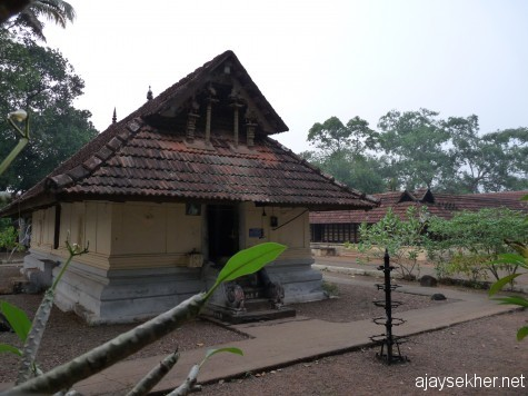 The shrine of Krishna at Kilirur temple, Kottayam.  The northern door of this shrine is marked for Buddha.  A Boddhisatva idol in Ardha Padmasana is worshiped today as Krishna.  It was also consecrated by Pallyvanar in early 16th century.