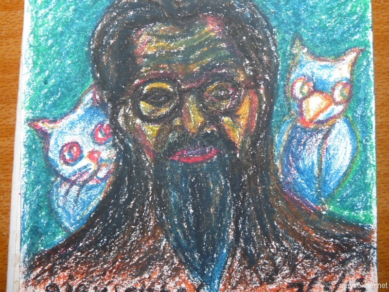 Cat, Owlet and Prophet, Oil Pastel on Paper 12*10cm, 7 March 2013 by Ajay Sekher in response to the news of the attack on O V Vijayan's newly done statue in the Kuman Kavu garden at Raja's High School, Kottakkal.