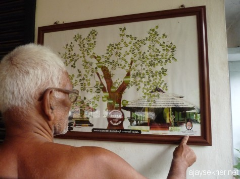 The current elder at Changaram Komarath explaining the family tree at the household temple, early April 2013.