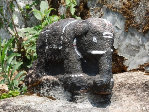 A stone idol of elephant at Panjalimed.  A similar one was found at Rajaparamed while working at Rajakumari GVHSS in 2010.  Could be part o the Tamil Sangham culture and iconography.