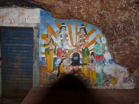 Rama-Lakshmana-Sita-Hanuman mural that has come up in the Pariyapuram Buddhist cave.  See Sita worshiping the Siva Linga.  The VHP has made demands to acquire the site.