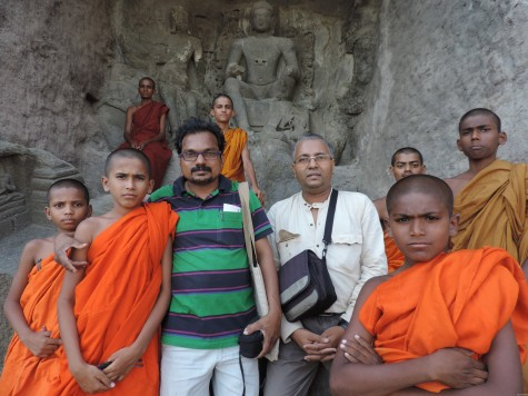 With young monks at Aurangabad caves (Kharki is the original name before it was renamed in early 17th century). 24 May 2013.