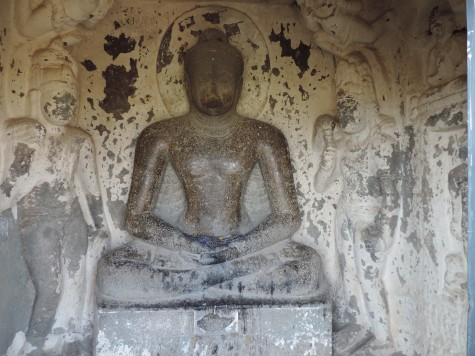 A Teravada Buddha in Aurangabad caves belonging to BC second century.  Note the Malsya Mudra or fish mark on the base.  Gradually by the 5th century A D this simple and austere formal style gave way to the more elaborate and sophisticated Mahayana style and it was easy for the Hindu Brahmanical forces to absorb such nuanced digression.