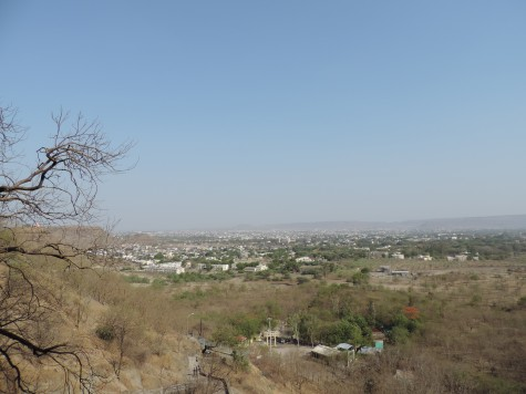 Aurangabad city from the Buddhist caves.  Bibi ka Maqbara is also seen in distance.