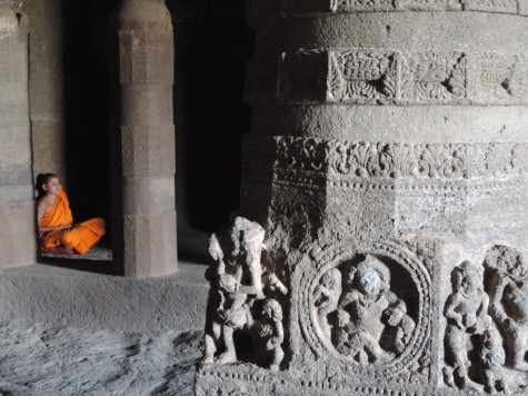 A young neo buddhist monk meditating in an Aurangabad Chaitya Vihara, 24 May 2013.