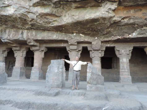 In the dining Vihara of Aurngabad caves.