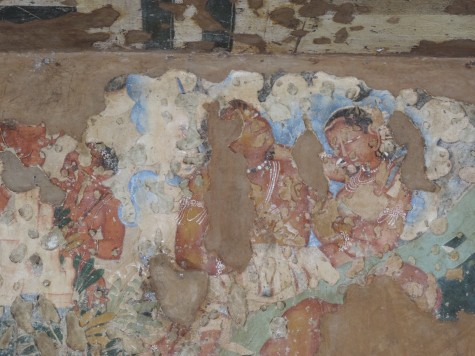 The reminiscent painting in Ajanta.  Most caves were painted and only traces remain after almost two thousand years of their creation, most by skilled monks and Viswakarma artisans.