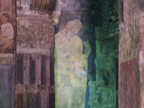Buddha with the begging bowl in his own home town; A trace from an elaborate work at Ajanta.  Flash not allowed. 25 May 2013.