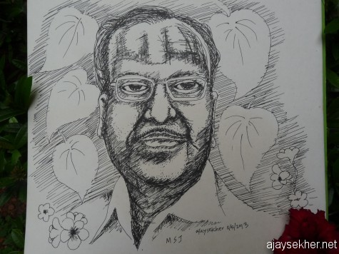 MSJ, Pen and Ink on Paper by Ajay Sekher.  20*30cm. 11 May 2013 on reading the news of his demise.