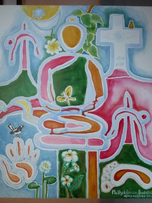 Pallykanam Buddha. Acrylic on Canvas 2013 by Ajay Sekher, composed at Vagaman Asa Sadan. Thanks to Mr Ajit Murikan for his cultural hospitality.
