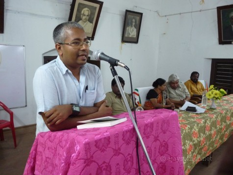 Ajay Sekher delivering Pandit Karupan Memorial Lecture 2013 at Maharaja's College Kochi on 6 Nov 2013.