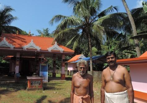 Kottekad Tandan's Kalari and Ayyappa shrine.  Current Tandar Mohanan and son Sudhi Kottekad. 18 Nov 2013.