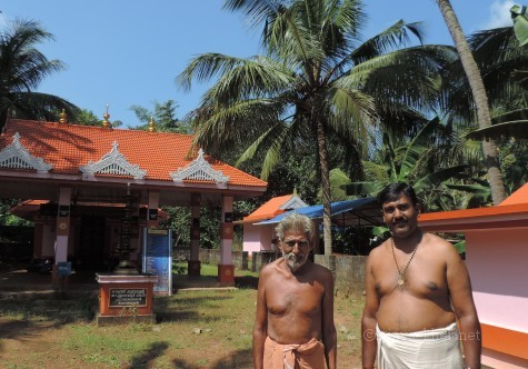 Kottekad Tandan's Kalari and Ayyappa shrine.  Current Tandar Mohanan and son Sudhi Kottekad. 18 Nov 2013.