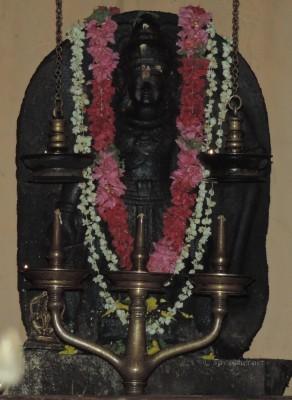 The rare standing Ayyappa idol in granite in Kottekad Tandan Kalari shrine, Kutur, Thrissur.